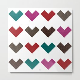 leather geometric love on white Metal Print