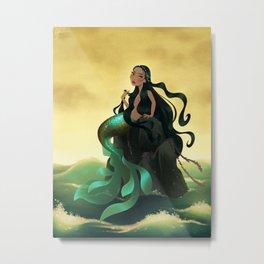 Mermaid Above A Choppy Sea Metal Print