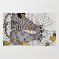 hats Area & Throw Rugs featuring Two Cats Without Hats by Judith Clay