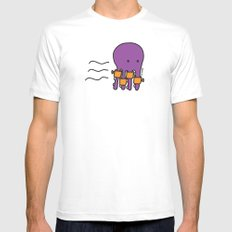 Swimming Octopus White SMALL Mens Fitted Tee