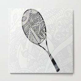 tennis racquet zentangle Metal Print