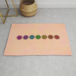 Colorful Rainbow Chakra Mandala , Yoga & Meditation Seven Sacred Mandalas Flower Painting Rug
