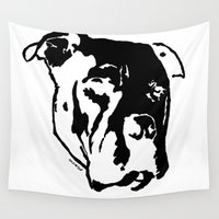pitbull Wall Tapestries featuring COACH - BLACK by Kirk Scott