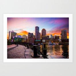 Fan Pier Plaza Sunset - Boston Art Print
