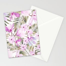 Aurora pink lavender green watercolor tropical floral Stationery Cards