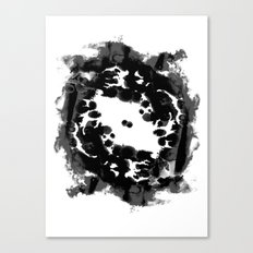 Enso black and white minimal watercolor japanese abstract painting zen art Canvas Print
