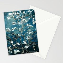 Van Gogh Almond Blossoms : Dark Teal Stationery Cards