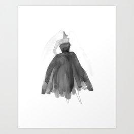 Black & White Strapless Watercolor Dress  Art Print