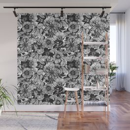 Hellebore lineart florals Wall Mural