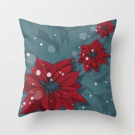 Poinsettias - Christmas flowers | BG Color II Throw Pillow