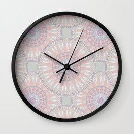 Pastel Pink Mandala Pattern Wall Clock