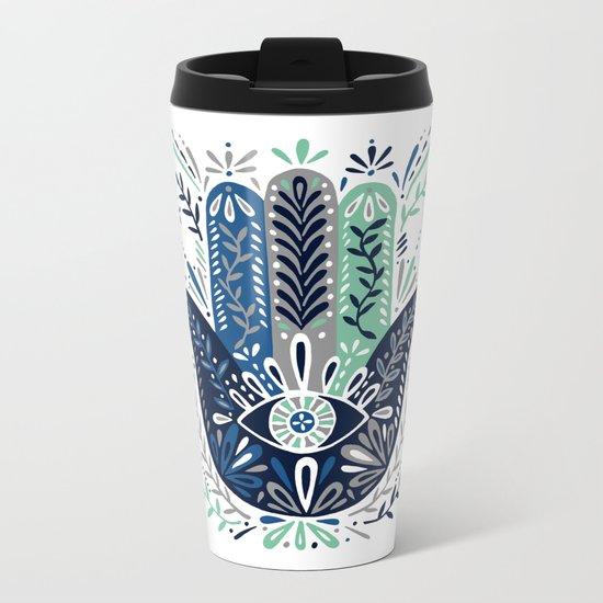 Hamsa Hand – Navy Palette Metal Travel Mug
