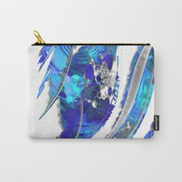 Blue and White Abstract Art - Flowing 2 - Sharon Cummings Carry-All Pouch