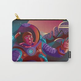 red suit astronaut on planet base Carry-All Pouch
