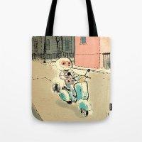 vespa Tote Bags featuring Vespa by Thomas Campi