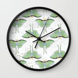 Watercolor and Marble Luna Moth Pattern Wall Clock