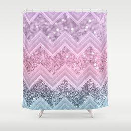 Unicorn Glitter Chevron #1 #pastel #shiny #decor #art #society6 Shower Curtain