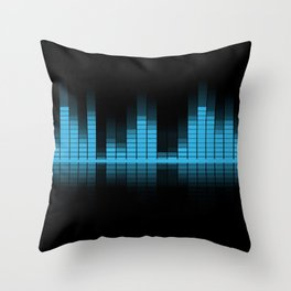 Cool Blue Graphic Equalizer Music on black Throw Pillow