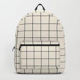Minimal Grid - Black Lines on Beige Backpack