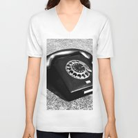 telephone V-neck T-shirts featuring telephone by Falko Follert Art-FF77