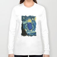 marauders Long Sleeve T-shirts featuring Tardis Dr. Who Starry Night by neutrone