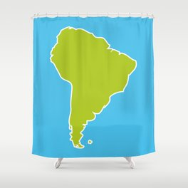 South America map blue ocean and green continent. Vector illustration Shower Curtain