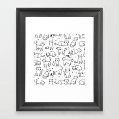 Kitties with Hearts Framed Art Print
