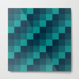 Ocean Waves - Pixel patten in dark blue Metal Print