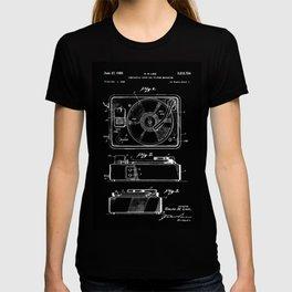 Turntable Patent - White on Black T-shirt