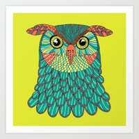 lime green Art Prints featuring owl - Lime green by bluebutton studio