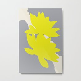 Yellow Flowers | Abstract Illustration Metal Print
