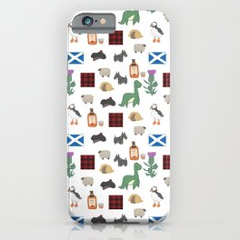 Famous Scottish Icons Pattern iPhone Case