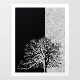 Natural Outlines - Tree Black & Concrete #295 Art Print