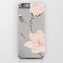Magnolia flower Japanese minimalism style artwork in retro colors gray iPhone Case