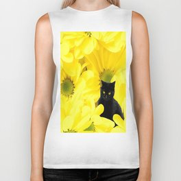 Black Cat Yellow Flowers Spring Mood #decor #society6 #buyart Biker Tank