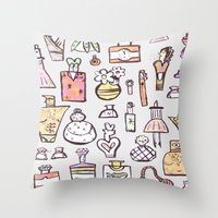 perfume Throw Pillows featuring Perfume  by Maddy Vian