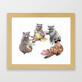 Racoon Tea Party Framed Art Print