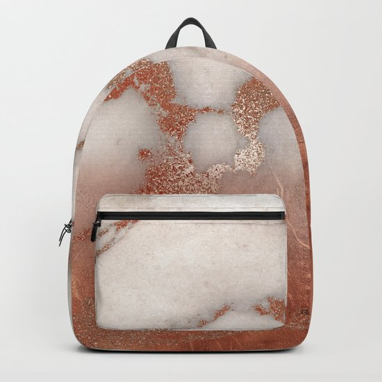 Shiny Copper Metal Foil Gold Ombre Bohemian Marble Backpack