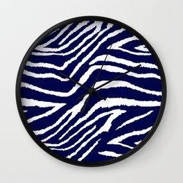 ZEBRA ANIMAL PRINT BLUE AND WHITE 2019 Wall Clock