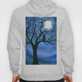 Meowing at the moon - moonlight cat painting Hoody