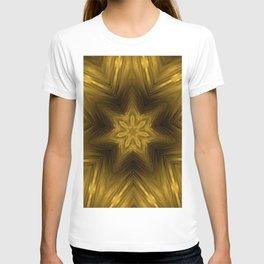 Golden Amber Metalic Abstract Star #Kaleidoscope T-shirt