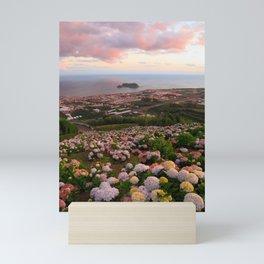 Azorean town at sunset Mini Art Print