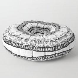 Circle - Mandala - Love Wealth Health Youthfulnes - White Black Floor Pillow