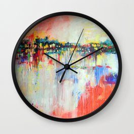on the water,  expressive landscape, abstract Wall Clock