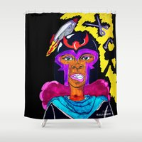 magneto Shower Curtains featuring Ms. Magneto by N3RDS+INK