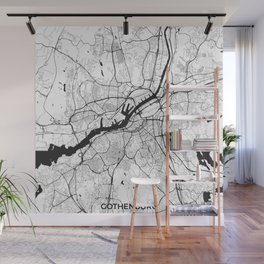 Gothenburg Map Gray Wall Mural