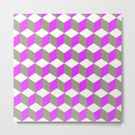 Diamond Repeating Pattern In Ultra Violet Purple and Grey Metal Print