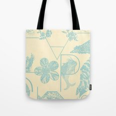 Letters in blue Tote Bag
