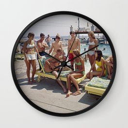 1960's Teenagers playing the guitar by the Gondolier Motel pool in Wildwood, NJ Wall Clock