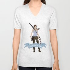 Fight Like a Girl: Lara Croft Unisex V-Neck